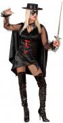 Banditin Damenkostüm Rächerin schwarz-rot