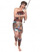 Dschungelbewohner Urwaldmensch Kostüm braun-bunt