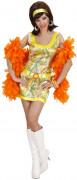 70er Disco Satin-Kleid mit Gürtel Damenkostüm grün