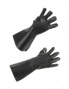 Handschuhe Leder-Optik lang schwarz
