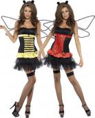 Sexy Wendekostüm Käfer Biene Damenkostüm schwarz-gelb-rot