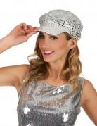Discomütze 70er-Mütze silber-grau
