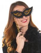 Stab-Augenmaske mit Spitze schwarz-gold