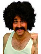 80er Jahre Party Perücke mit Bart dunkelbraun