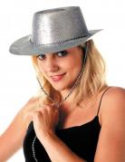 Cowgirlhut mit Pailletten silber