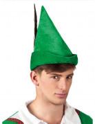 Mittelalterlicher Hut mit Feder grün