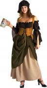 Luxuriöses Wirtinnen Kostüm Damen braun-grün