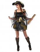 Heisse Piraten-Kapitänin Damenkostüm Piratin schwarz-gold