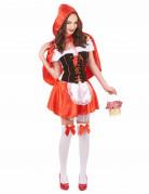 Bezauberndes Rotkäppchen Damenkostüm Märchen rot-weiss-schwarz