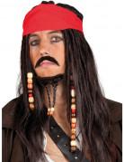 Piratenkapitän Perücke Seeräuber Perücke schwarz-rot