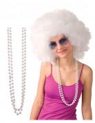 Perlenketten Kostümschmuck 2 Stück weiss 78cm