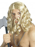 Wikinger Langhaar-Perücke mit Bart blond