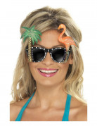 Partybrille Palme Flamingo schwarz-bunt 12x15cm