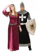Burgfräulein und Kreuzritter - mittelalterliches Paarkostüm für Erwachsene bordeauxrot und schwarz