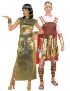 Kleopatra und Caesar - Paarkostüm für Erwachsene in Gold, Braun und Rot