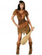 Höhlenmensch-Damenkostüm Steinzeit leopard