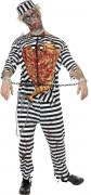 Zombie Gefangener Sträfling Halloween-Kostüm schwarz-weiss