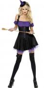 Zauberin Hexe Damenkostüm schwarz-lila