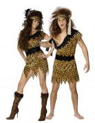 Steinzeit-Paarkostüm für Erwachsene im Leopardenmuster