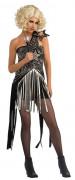 Ausgefallenes Stern-Kleid Promi Damenkostüm schwarz-silber