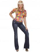 Hippie Samt-Damen-Shirt Peace bunt