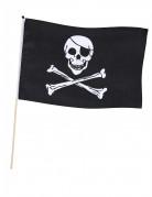 Piraten-Flagge mit Stab schwarz-weiss 45x30cm