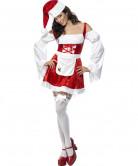 Sexy Weihnachtsfrau Damenkostüm mit Schürze rot-weiss