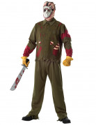 Jason™-Deluxekostüm für Herren Halloweenkostüm grün-rot