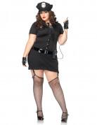 Sexy Polizistin Damenkostüm übergrössen schwarz-silber