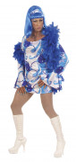 Drag Queen Disco XL Kostüm blau-weiss