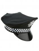 Englische Polizistenmütze Polizei-Kopfbedeckung schwarz-weiss-silber