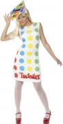 Spielfeld-Damenkostüm Twister-Lizenzkostüm weiss-bunt