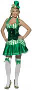 Irische Glücksfee Damen-Kostüm grün-weiß