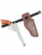 Cowboy Pistole mit Holster für Kinder braun-silber-schwarz