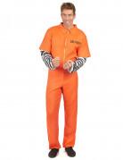 Sträflingskostüm Overall für Herren orange-schwarz-weiss