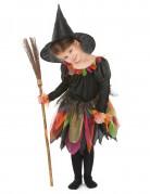 Mädchen Hexenkostüm Halloween schwarz-bunt