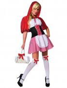 Sexy Rotkäppchen-Damenkostüm Märchenkostüm mit Corsage rot-weiss-schwarz