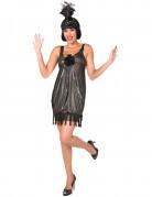 Charleston-Damenkostüm Flapperkleid silber-schwarz