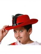 Musketier-Kinderhut mit Feder Musketier-Kostümzubehör rot-schwarz-gold