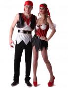 Verruchte Piraten Paarkostüm für Erwachsene schwarz-rot-weiss