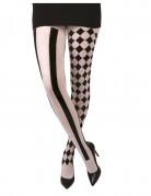 Harlekin Damenstrumpfhose schwarz-weiß
