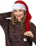 Weihnachtsmütze mit Bommel rot-weiss