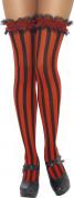 Rüschen Overknee-Strümpfe mit Streifen schwarz-rot