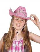Glitzernder Cowgirl-Hut für Kinder mit Diadem rosa-silber