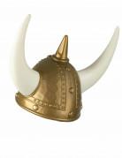 Wikinger Helm mit Hörnern grau-gold-weiss