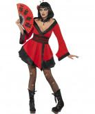 Gothic Vampir Geisha Halloween Damenkostüm schwarz-rot