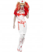 Zombie Horror Krankenschwester Halloween Damenkostüm weiss-rot