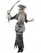 Zombie Geister Piratin Halloween Damenkostüm grau