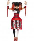 Springteufel Horror Clown Halloween Damenkostüm rot-weiss-schwarz