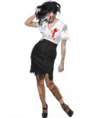 Zombie Sekretärin Halloween Damenkostüm schwarz-weiss